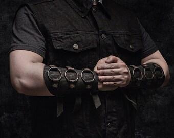 Black metal leather bracers, viking armor, post apocalyptic bracers