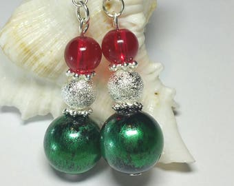 Beaded Christmas Earrings, Xmas Jewellery, Silver Handmade Costume Jewellery, Red Green Silver Christmas Earrings