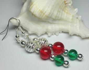 Christmas Earrings, Xmas Earrings, Red Green Silver Jewellery, Festive Season, Handmade Costume Jewellery, Under 15 Christmas Earrings