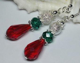 Christmas Earrings, Red Green Silver Xmas Jewellery, Handmade Costume Jewellery, Holiday Jewelry, Festive Season Jewellery