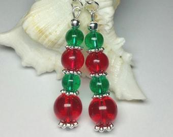Christmas Earrings, Glass Beaded Xmas Jewellery, Silver Handmade Costume Jewellery, Red Green Christmas Earrings, Christmas Gift
