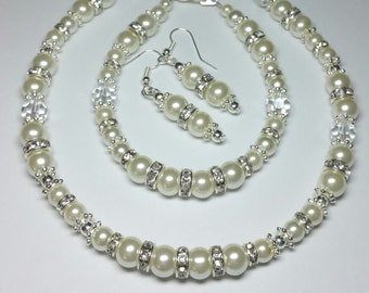 Ivory Glass Pearl Rhinestone Wedding Jewellery, Brides Jewellery Set, Silver Handmade Costume Jewellery, Necklace Bracelet Earrings Set