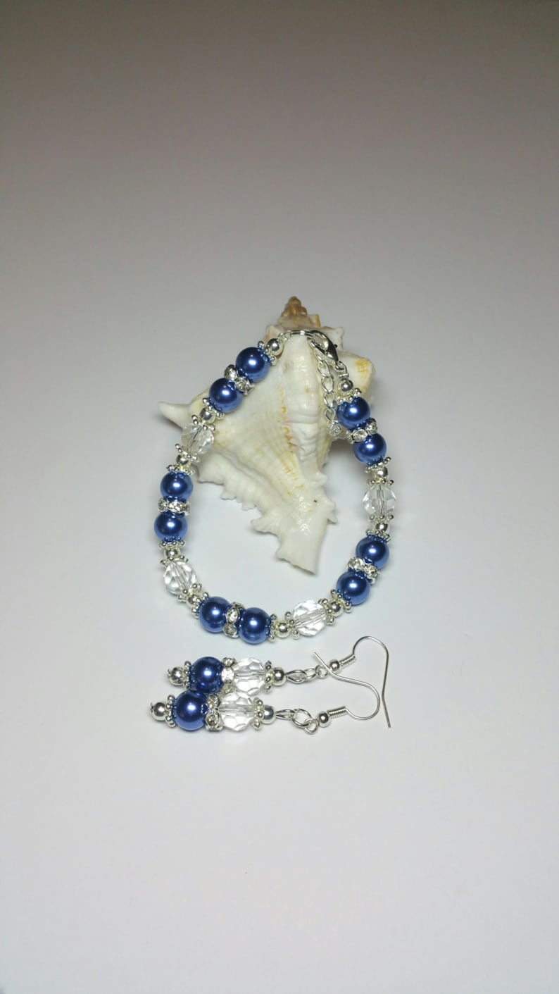 Blue Pearl Bracelet Earrings Set Wedding Jewelry Silver Handmade Costume Jewellery Rhinestone Jewellery Set Bridesmaids Gift Set
