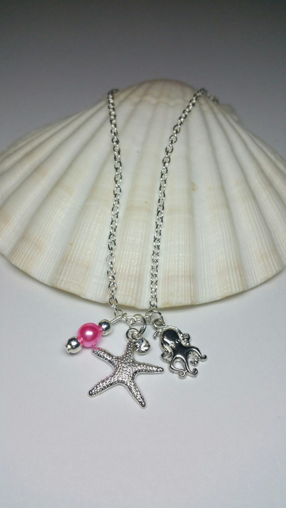 Kids Beach Jewellery Under the Sea Silver Costume Jewellery Little Girls Starfish Necklace Minimalist Chain Necklace Octopus Necklace