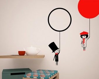 Gone with a balloon - boy and girl wall decals wall stickers - baloon wall decals - fly with a balloon wall decals