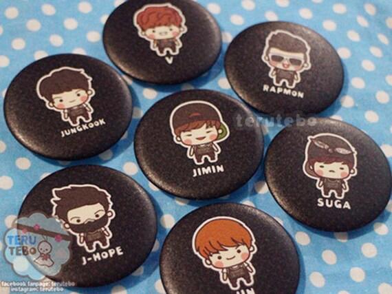 BTS Bangtan Fanmade Pin Badge Kpop ARMY RM V Jimin Jin Suga J-Hope Jungkook