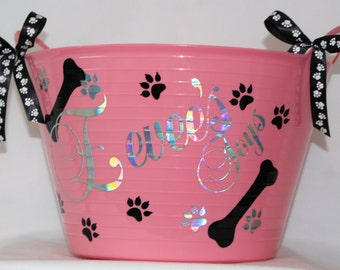 Dog Toy Box, Basket, Toy Bin Personalized Grooming Supply Container, Toy  Storage Bin