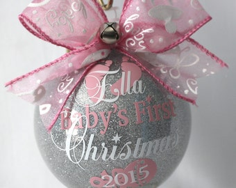 babys first christmas ornament personalized new baby ornament 4 glass or acrylic hard plastic that will not break made with vinyl decal