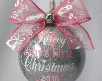Personalized Christmas Ornament Babys First Christmas Ornament Pink Or Blue New Baby Ornament Babys 1st Christmas Glass Or Acrylic