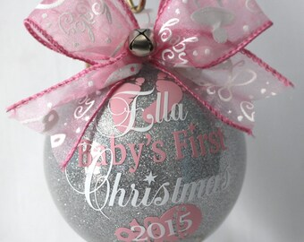 """Baby's First Christmas Ornament personalized New baby ornament 4"""" Glass or (Acrylic hard plastic that will not break) made with Vinyl decal"""