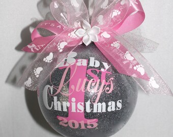 """Baby's first christmas ornament personalized with year and baby Girls name. 3"""" Plastic  or Glass ornament made with Vinyl decals"""