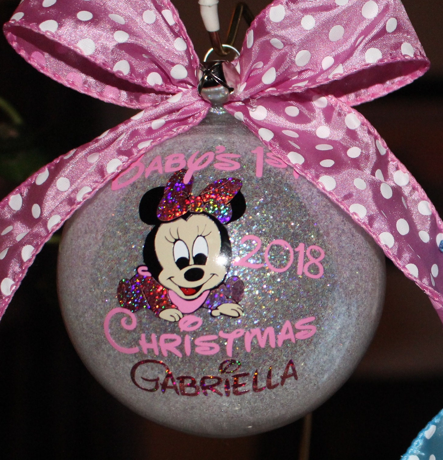Baby S First Christmas Ornament Personalized Minnie Mouse