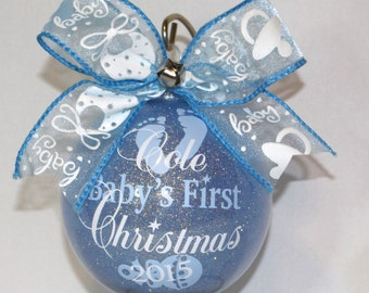 """Baby's First Christmas Ornament personalized with any year & name. 4"""" Acrylic or Glass FIRST NAME ONLY Please made with vinyl"""