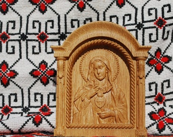 """Immaculate Heart of Mary Wood Carved Religious icon Christmas gifts for women 5""""x6"""""""