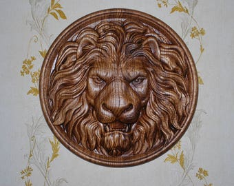 Wood Applique Onlay Rosette Carved Lion Head Carvings Wall Art Round FREE SHIPPING