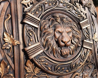 Wooden canvas  Carved Lion Head wood carvings wood wall hanging plaque