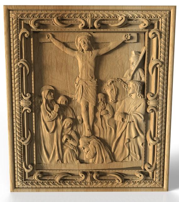 Chemin de croix de la Croix 12 station Pilate condamne Jésus mourir façon de chagrins bois sculpture icône religieuse