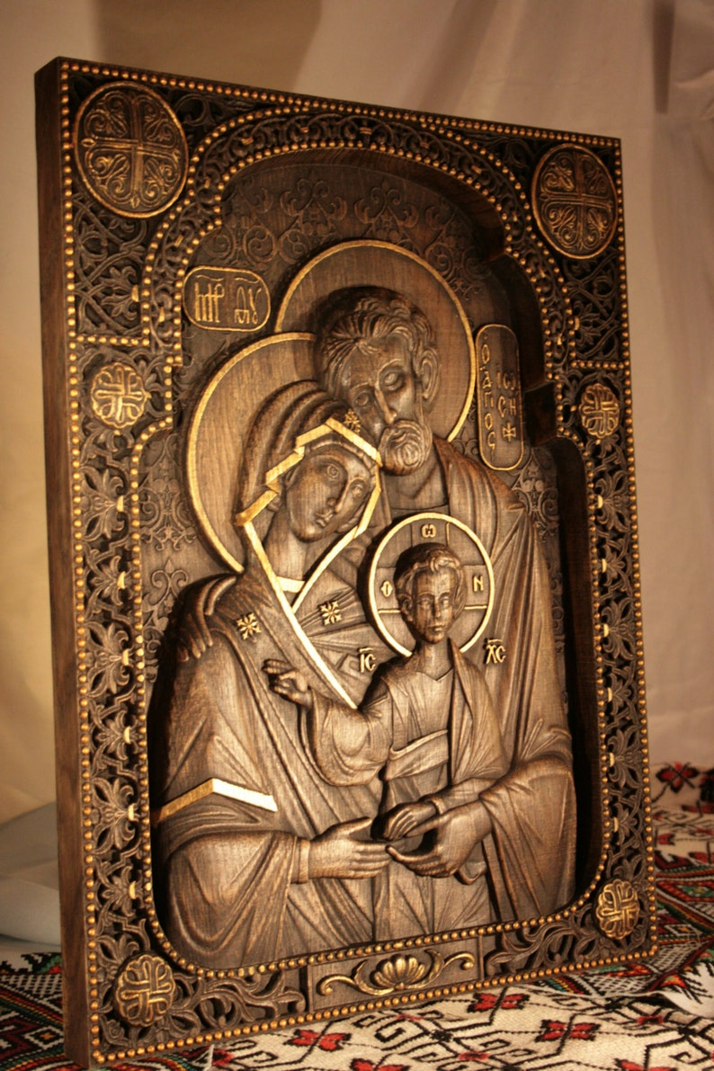 Religious Gift Wood Carving Holy Family Nativity Wood Wall Art Easter Gift Ideas Wooden Gift Birthday Gifts Byzantine Icon