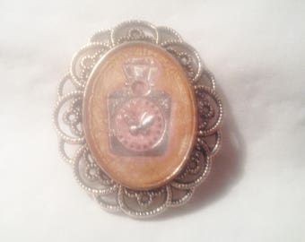 """Brooch """"Age"""" - hand - painted resin cover."""