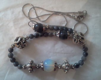 Pearl Necklace with opal and labradorite beads