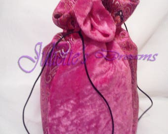 Candy pink and damask velvet bag Indian