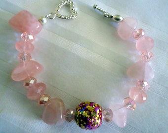 Beautiful Rose Quartz Crystal  Nugget and Bead Bracelet.