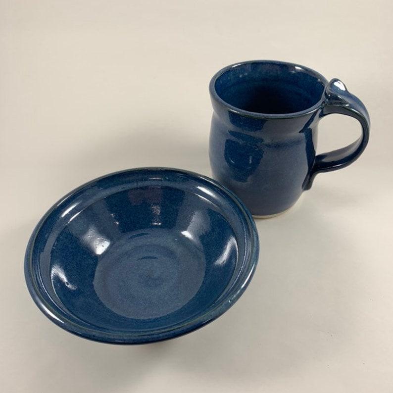 Breakfast Set - Navy Blue Handmade Pottery Matching Mug /& Bowl