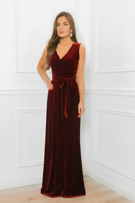 e7a53adbbd Dark burgundy velvet maxi elegant dress slit sleeveless etsy jpg 570x855  Dark maroon dress