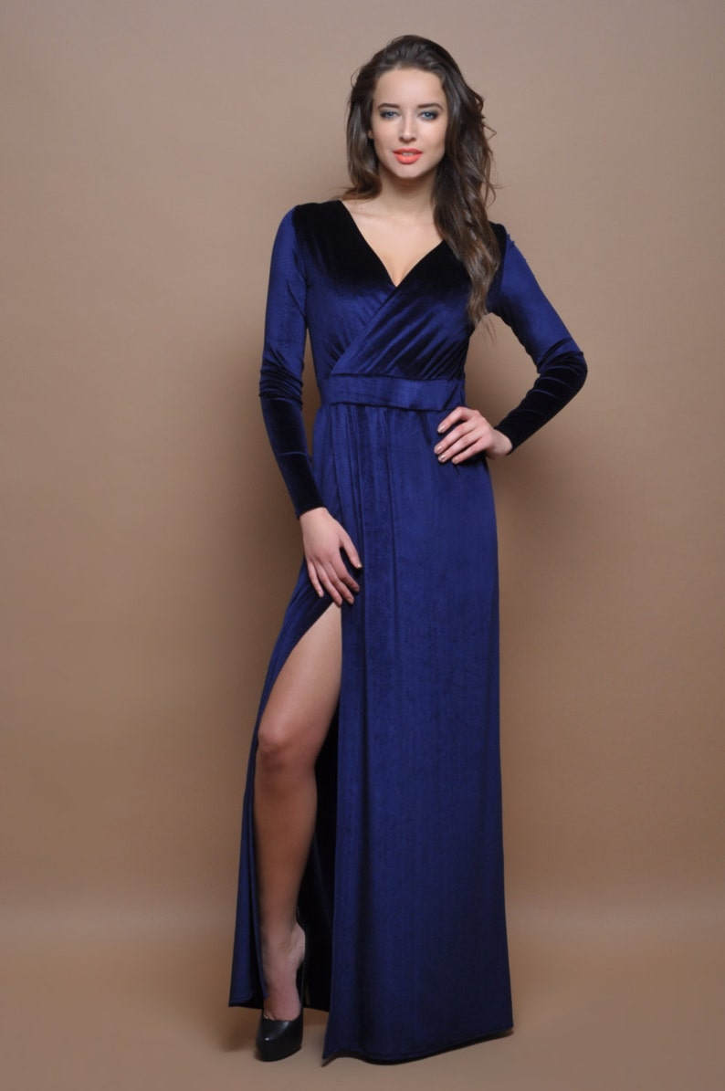 a9941c89ffb0 Navy Blue Velvet Maxi Dress Wrap Neckline Slit Long Sleeves
