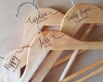 laser engraved bridal wooden coathangers with custom made font