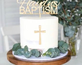 Religious cake topper, wooden cake topper for christening baptism