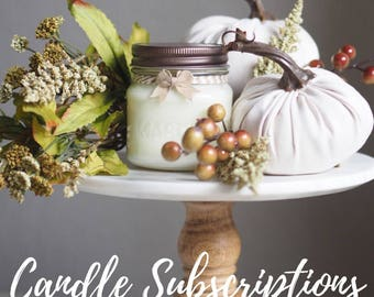Candle Subscription, Hand Poured, All Natural Soy, Mason Jar Candles, Gifts, Fall Decor, Autumn Decor, Holidays