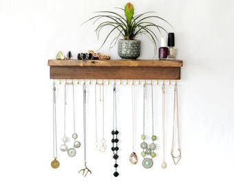 Wall Necklace Holder With Shelf