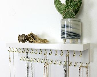 White Jewelry Organizer With Shelf, Necklace Holder, Necklace Display