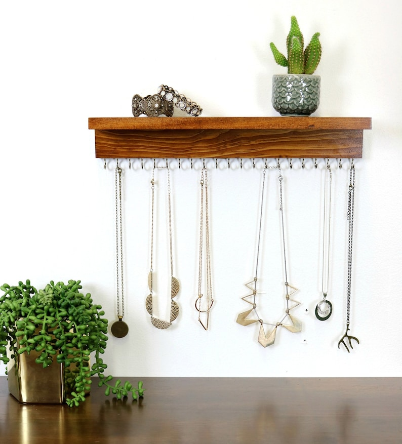 Wall Necklace Holder With Shelf image 0
