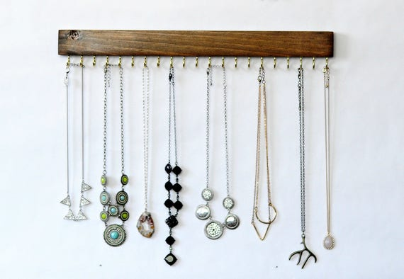 Wall Mount Jewelry Organizer Necklace Holder Etsy