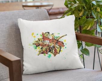 Leaf Watermarks Throw Pillow, Rectangular/Square Throw Cushion, White Throw Pillow, Decorative Winter Cushions, Boho Sofa Throw Pillow