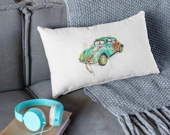 Beetle Car Throw Pillow, Decorative Pillow For Bed, White Throw Pillow, Rectangular Pillow, Outdoor Pillow, Watercolor Pillow