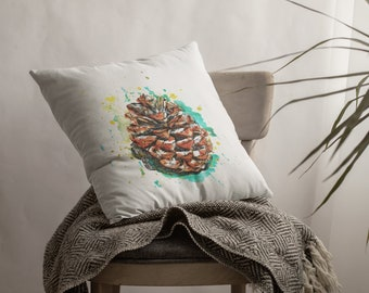 Pine Cone Watercolors Pillow, White Throw Cushion, Square/Rectangular Throw Pillow, Decorative Nature Sofa Pillows, Boho Pillow For Couch