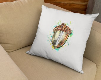 Acorn Throw Pillow, Acorn Watercolor Cushions, Unique Print Pillow, Unique Bohemian Throw Pillow, Decorative Pillow For Bed