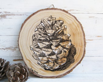 Nature art, Pine cone print, Pine cone picture, Woodland baby shower, Pine cone,  ornament, Rustic sign, Country decor, Wood slice art