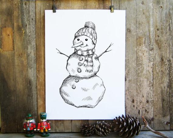 Christmas Snowman Digital Print Snowman Christmas Coloring
