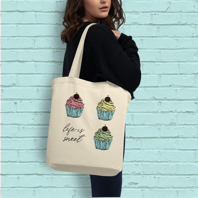 Printed Tote Bag Tote Bag Girls Cupcake Vegan Tote Bag Life Is Sweet Library Tote Bag Gift Tote Bag Eco Tote Bag Cotton Tote Bag