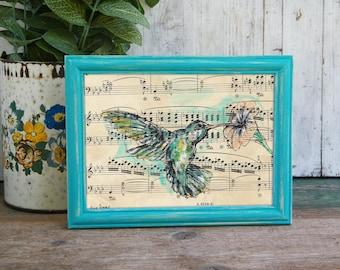 Framed Hummingbird Dictionary Wall Art, Nature Wall Art, Rustic Framed Art, Framed Nature Prints, Hummingbird Print, Home Decor