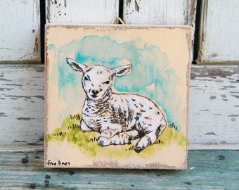 Sheep Wall Art, Small Wood Slice Wall Art, Miniature Animal Wall Art, Kids Wall Art, Nursery Wall Art, Handmade Wall Art, Recycled Wood Art