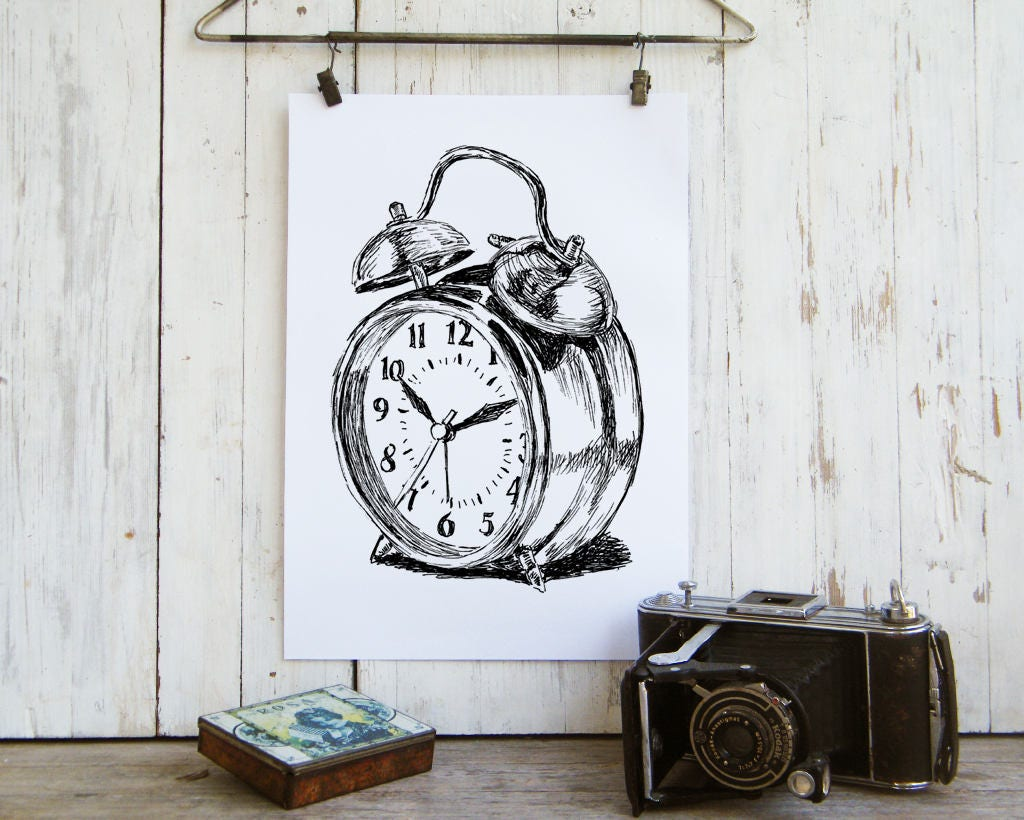 Alarm Clock Printable Clock Poster Bedroom Decor Antique