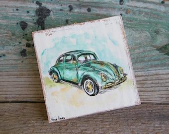 Vintage Car Signs, Beetle Car Wall Art, Retro Style Decor, Rustic Wall Art, Vintage Wall Art, Retro Wall Art, Shabby Chic Decor, Unique Gift