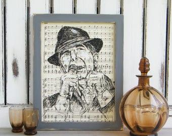 Leonard Cohen Portrait, Framed Art, Leonard Cohen Print, Wooden Frame, Leonard Cohen Poster, Dictionary Print, Book Art, Gift