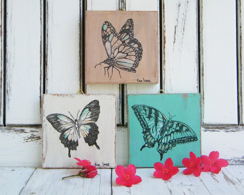 Bedroom Wall Decor Butterflies Prints Home Decor Set Of 3 Etsy