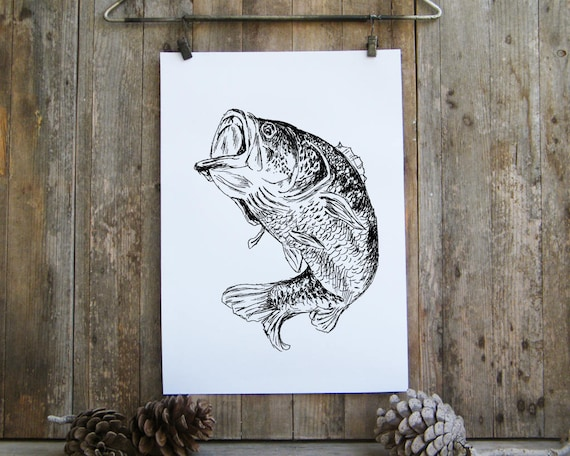 Bass Printable Bass Fish Poster Woodland Animals Nature Etsy
